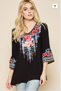 Mara Black Embroidered Bell Sleeve