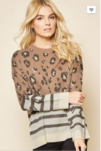 Mocha Leopard Knit Sweater