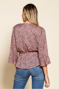 Mauve Animal Print Wrap Blouse