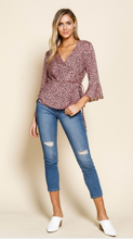 Load image into Gallery viewer, Mauve Animal Print Wrap Blouse