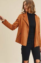 Load image into Gallery viewer, Camel Suede Moto Jacket