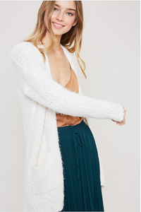 Cream Popcorn Open Front Cardigan