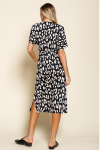 Animal Print Drape Pocket Knit Dress