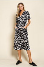 Load image into Gallery viewer, Animal Print Drape Pocket Knit Dress