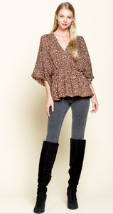 Briana Animal Print Surplice Top