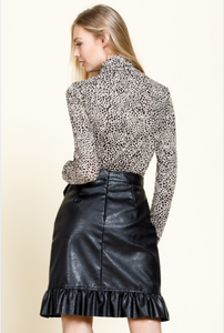 Diana Ruffle Leather Skirt