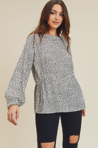 Connie's Ruched Waist White Leopard Print Top