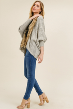 Load image into Gallery viewer, Fur Detail Cardigan With Back Tie