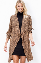 Load image into Gallery viewer, Leopard Knee-Length Jacket with Pockets