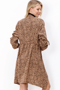 Leopard Knee-Length Jacket with Pockets