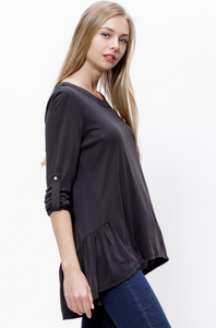 Cathy's Casual Work Top with Ruffled Hem