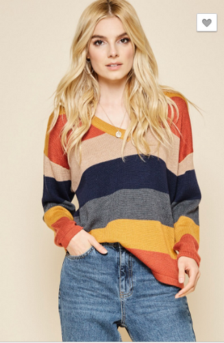 All the Fall Color Block Sweater