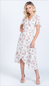 Fancy in Floral Ivory Midi Wrap Dress