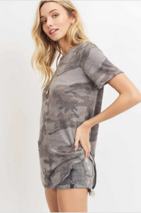 Callie Camo Short Sleeve Top