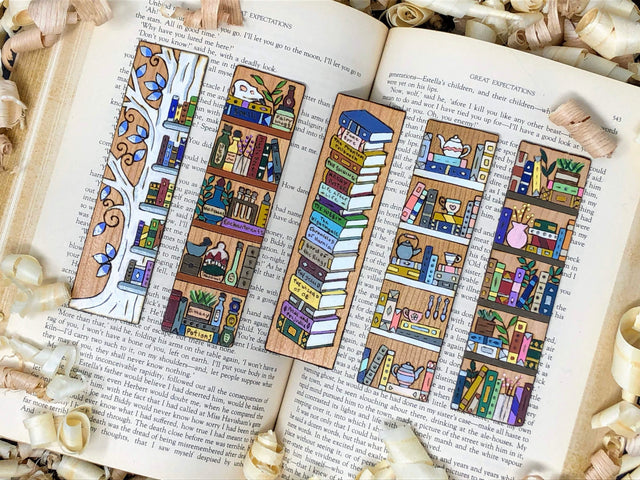 bookshelf wooden bookmarks