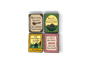 wooden book magnets