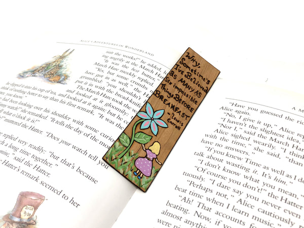alice in wonderland quote wooden bookmark