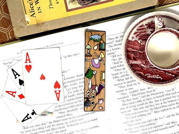 alice in wonderland wooden bookmark