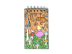 alice in wonderland wooden notebook