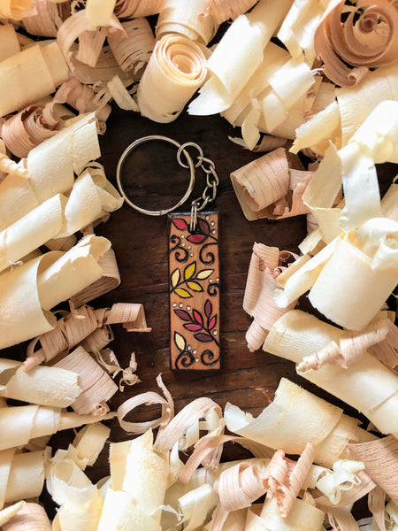 autumn leaf wooden keychain