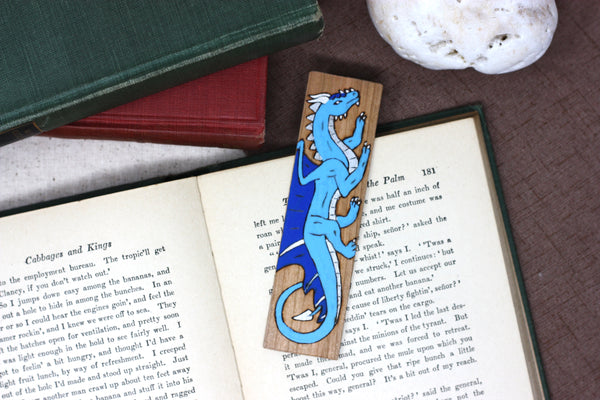 Blue dragon wooden bookmark