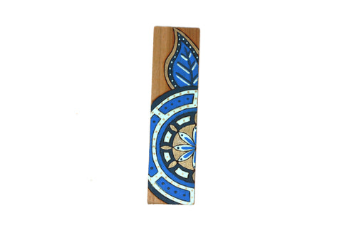 blue mandala flower wooden bookmark