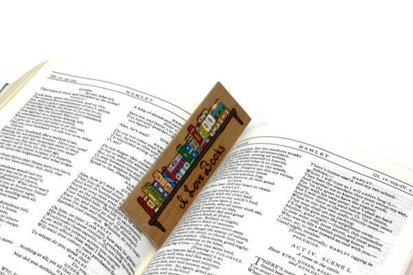 Book lover wooden bookmark