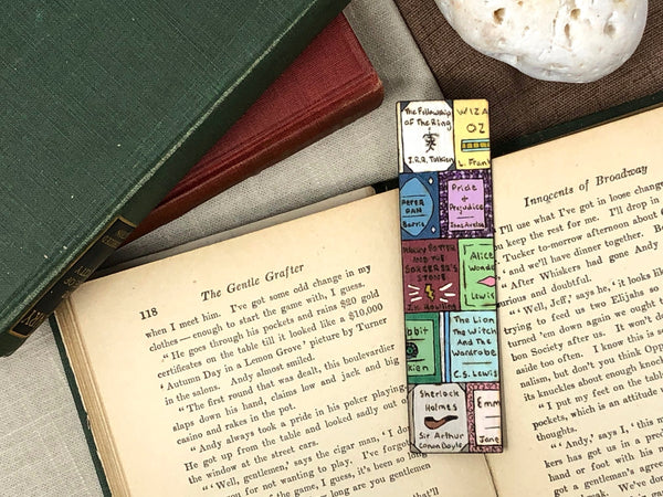 book cover wooden bookmark