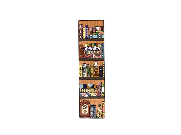 Books and Quilts Bookshelf Bookmark