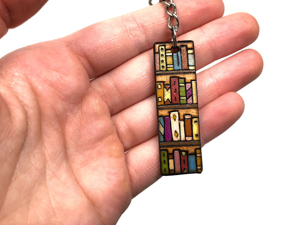 bookshelf wooden keychain