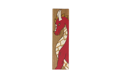 Fire dragon wooden bookmark