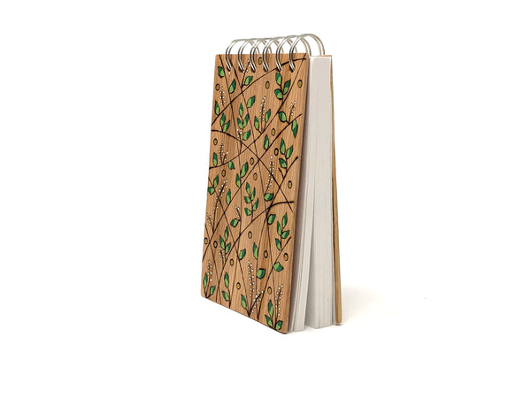 green leaf wooden pyrography notebook