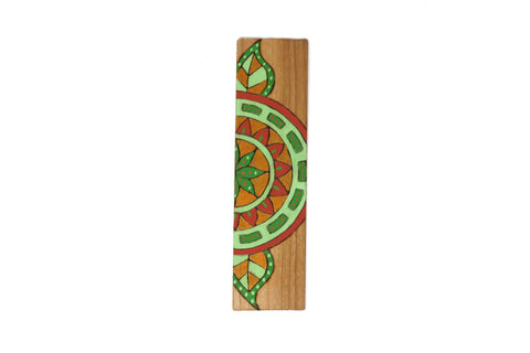 green mandala flower wooden bookmark