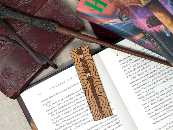 harry potter magic wand wooden bookmark