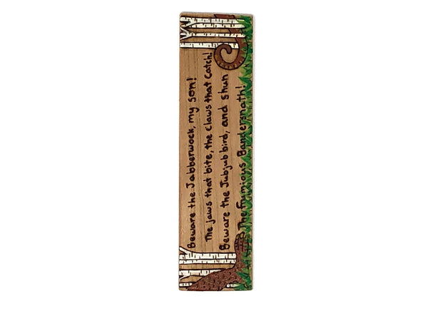 beware the jabberwock wooden bookmark