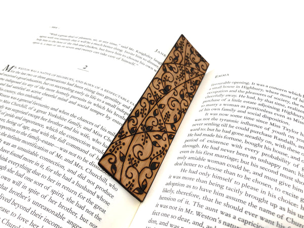 pyrography vine wooden bookmark