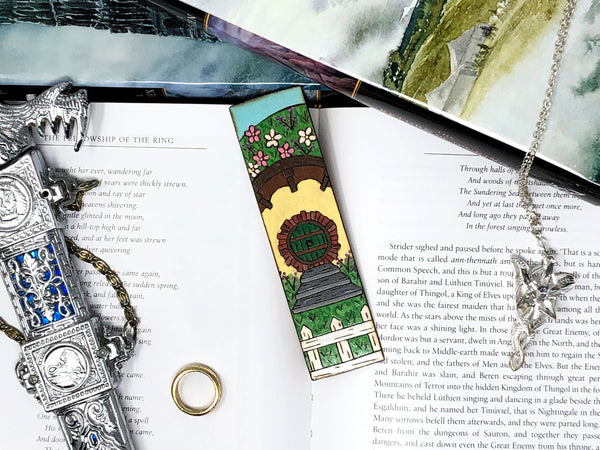 hobbit hole wooden bookmark