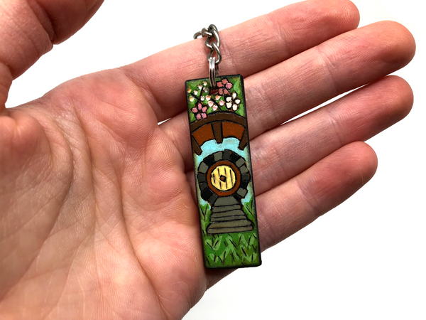hobbit hole wooden keychain
