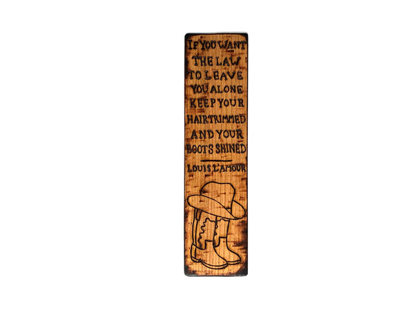 louis l'amour quote wooden bookmark