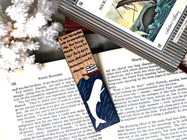 moby dick white whale wooden bookmark