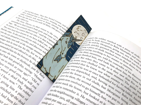 moonlit unicorn wooden bookmark