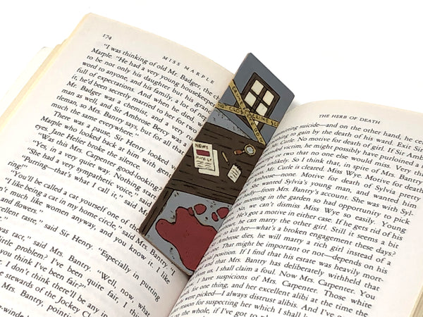 murder mystery wooden pyrography bookmark