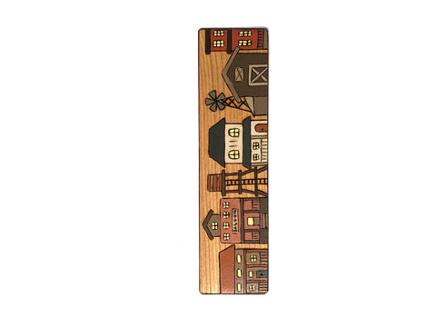 old western town wooden bookmark