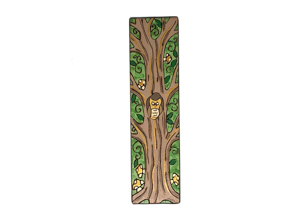 owl in a tree wooden bookmark