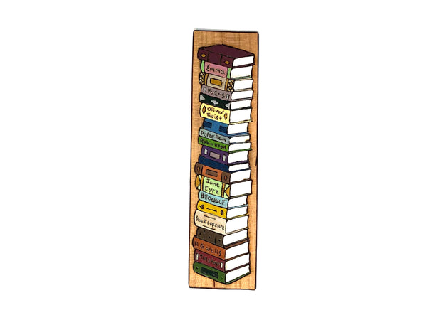 tower of books wooden bookmark