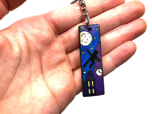 peter pan wooden keychain