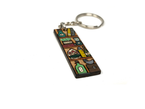 potion shelf wooden keychain