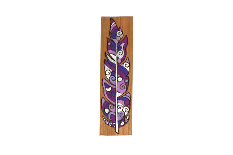 purple feather wooden bookmark