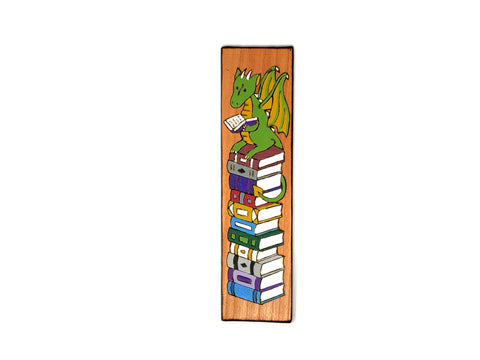 reading dragon wooden bookmark