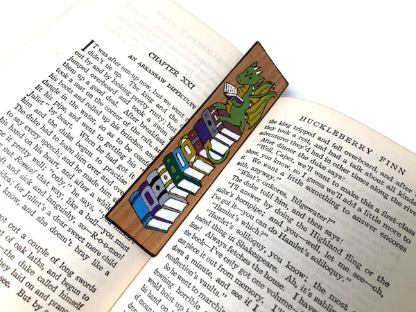 dragon and books bookmark